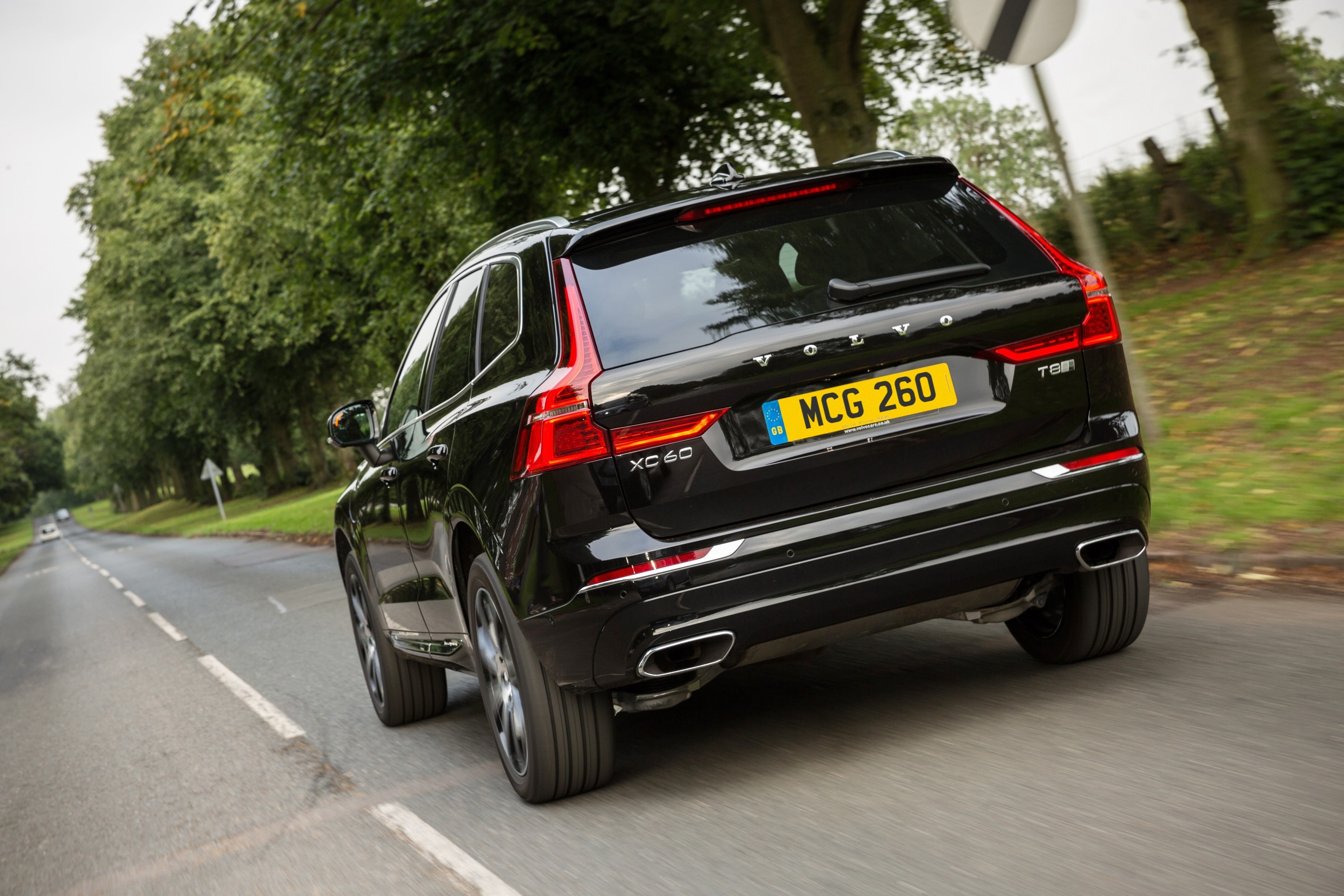 Rear view of a Black Volvo XC60 T8