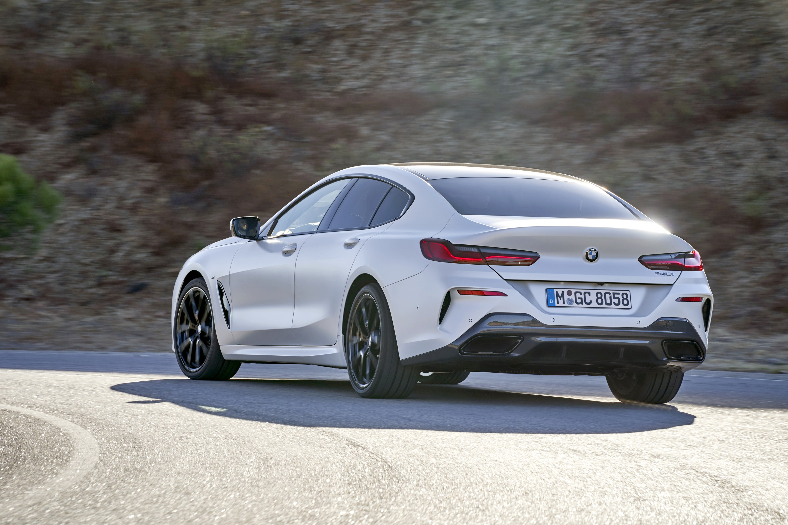 Rear view of White BMW 8 Series