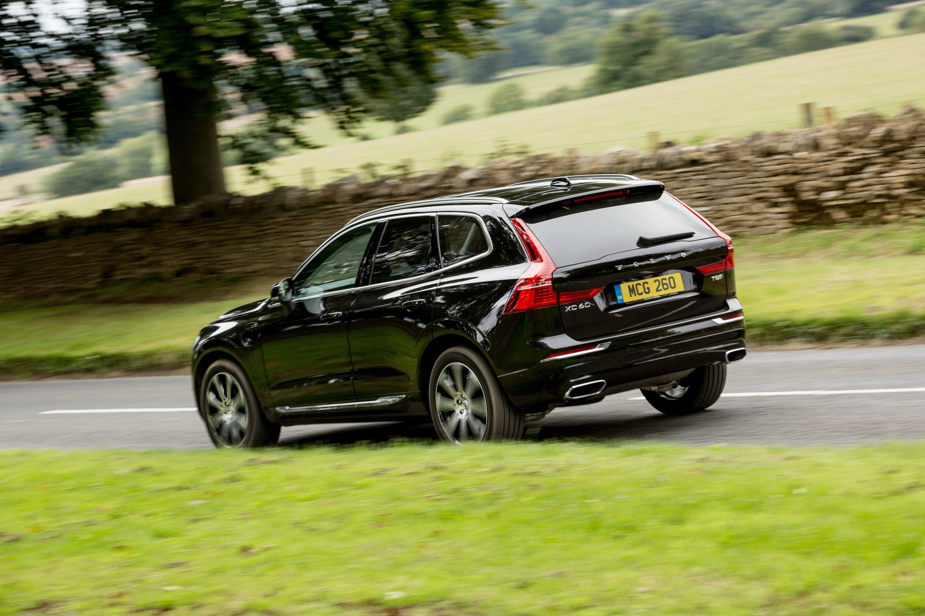 Side view of Black Volvo XC60 T8