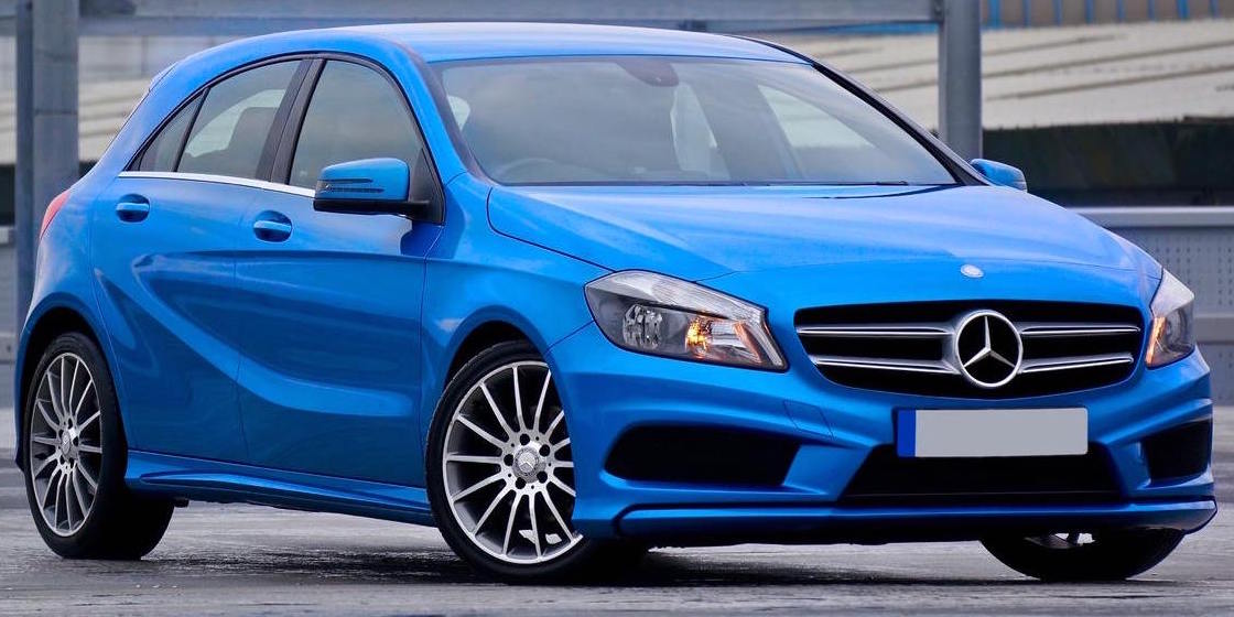 Blue Mercedes A-Class parked three-quarters facing right