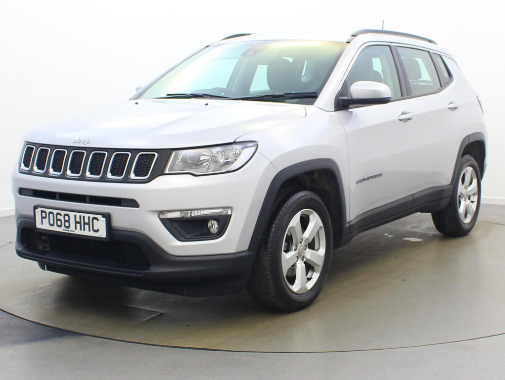 White Jeep Compass parked facing 3/4 left