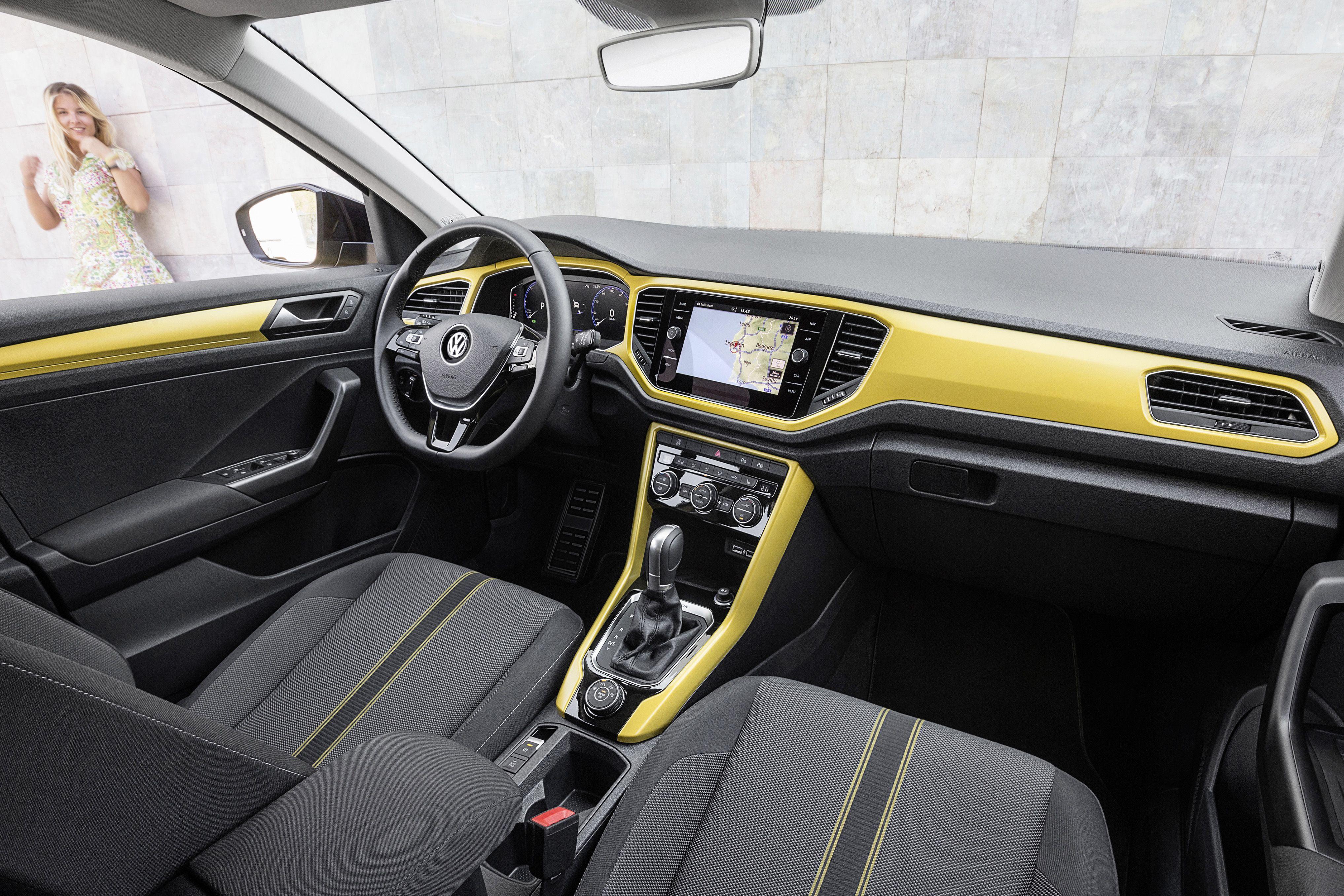 Interior of yellow Volkswagen T-Roc