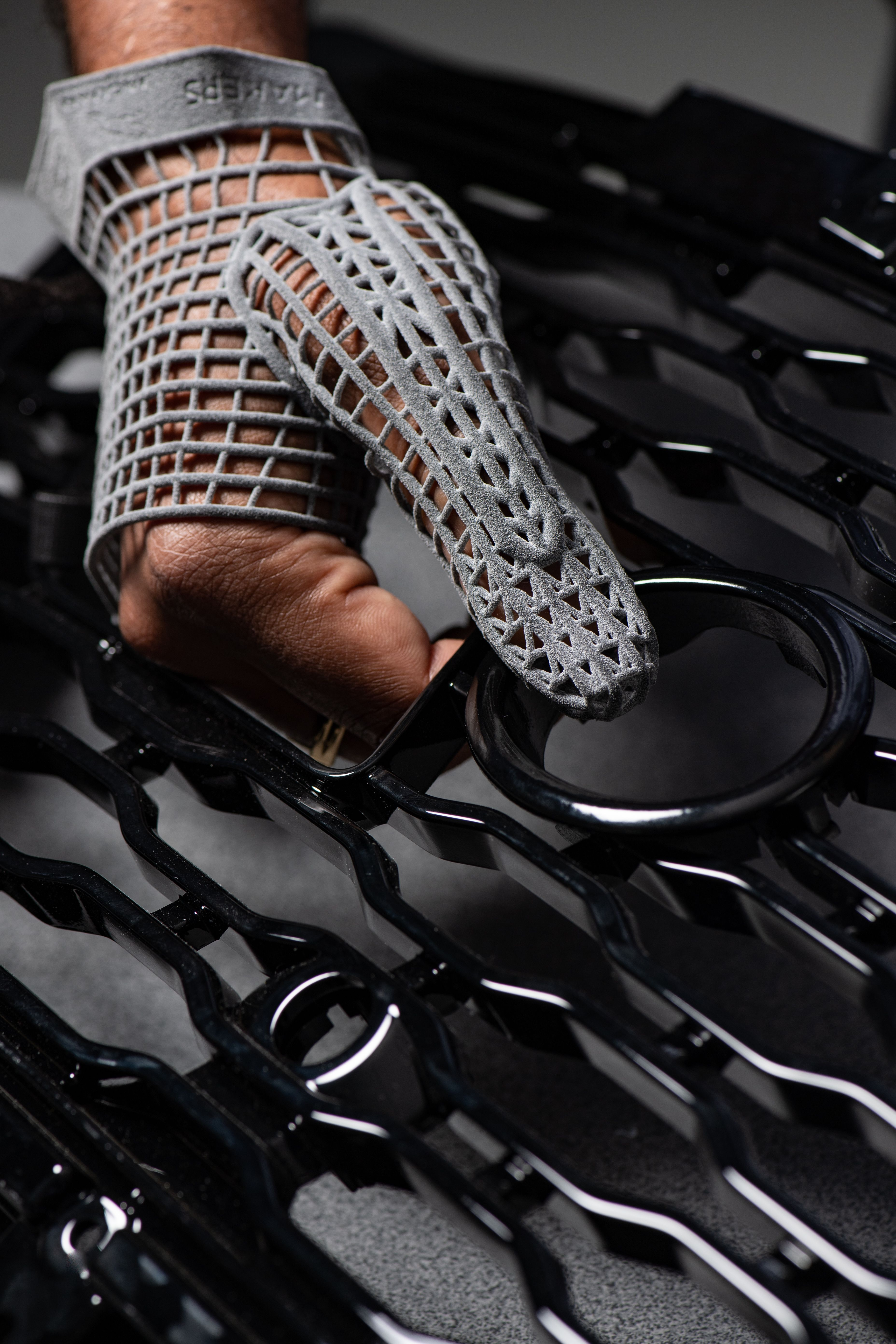 person wearing Jaguar Land Rover 3D Printed glove