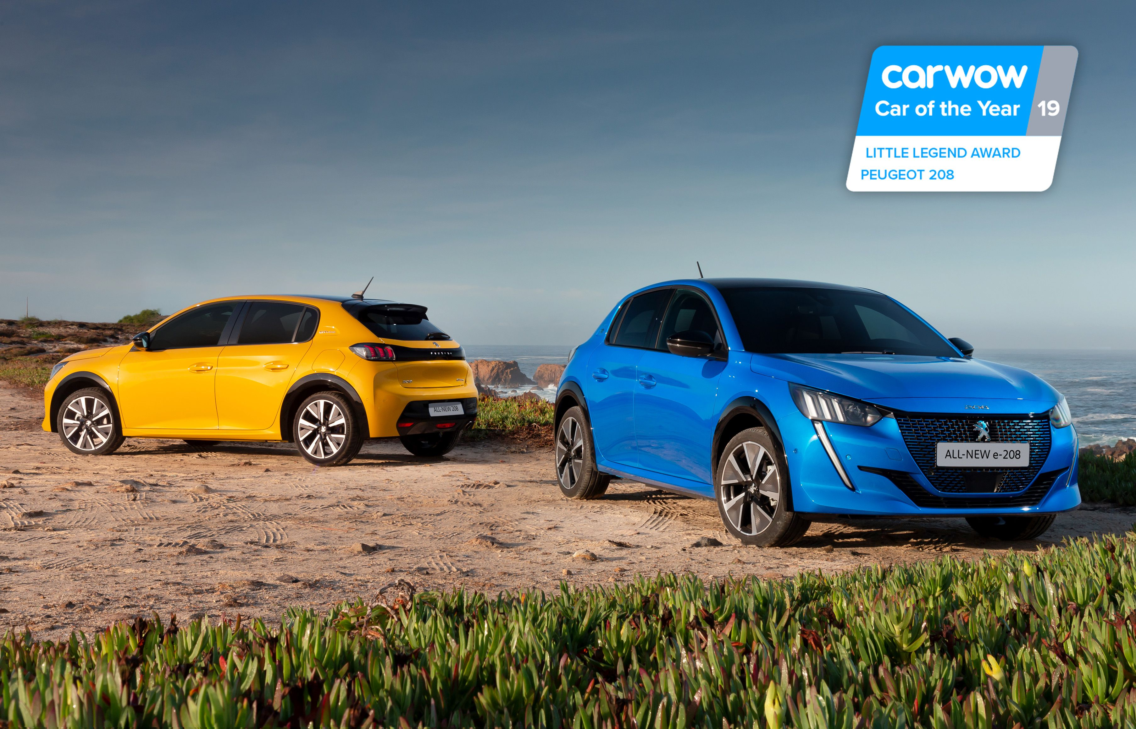 Yellow Peugeot 208 and Blue e-208