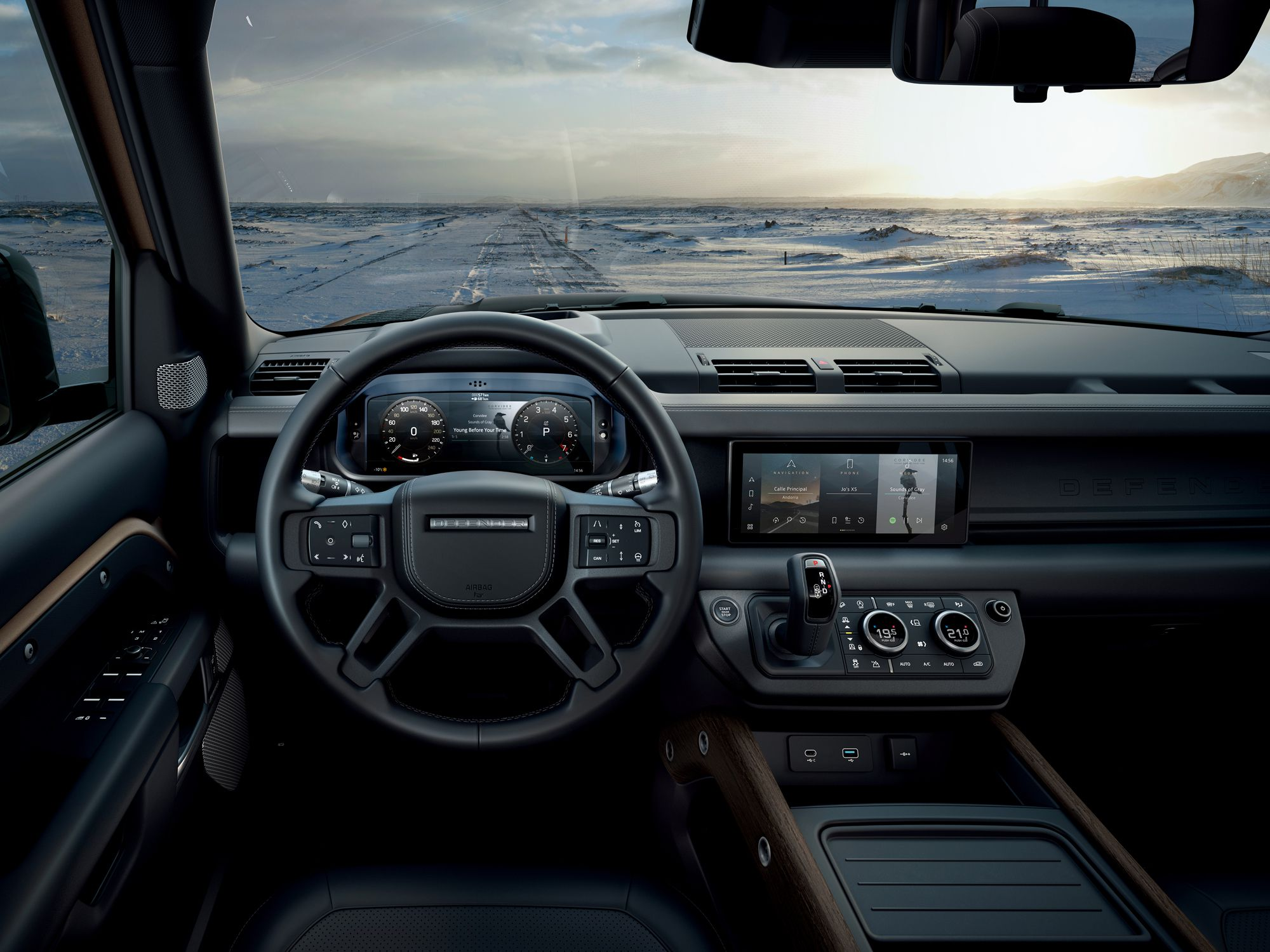 Interior dashboard of new Land Rover Defender