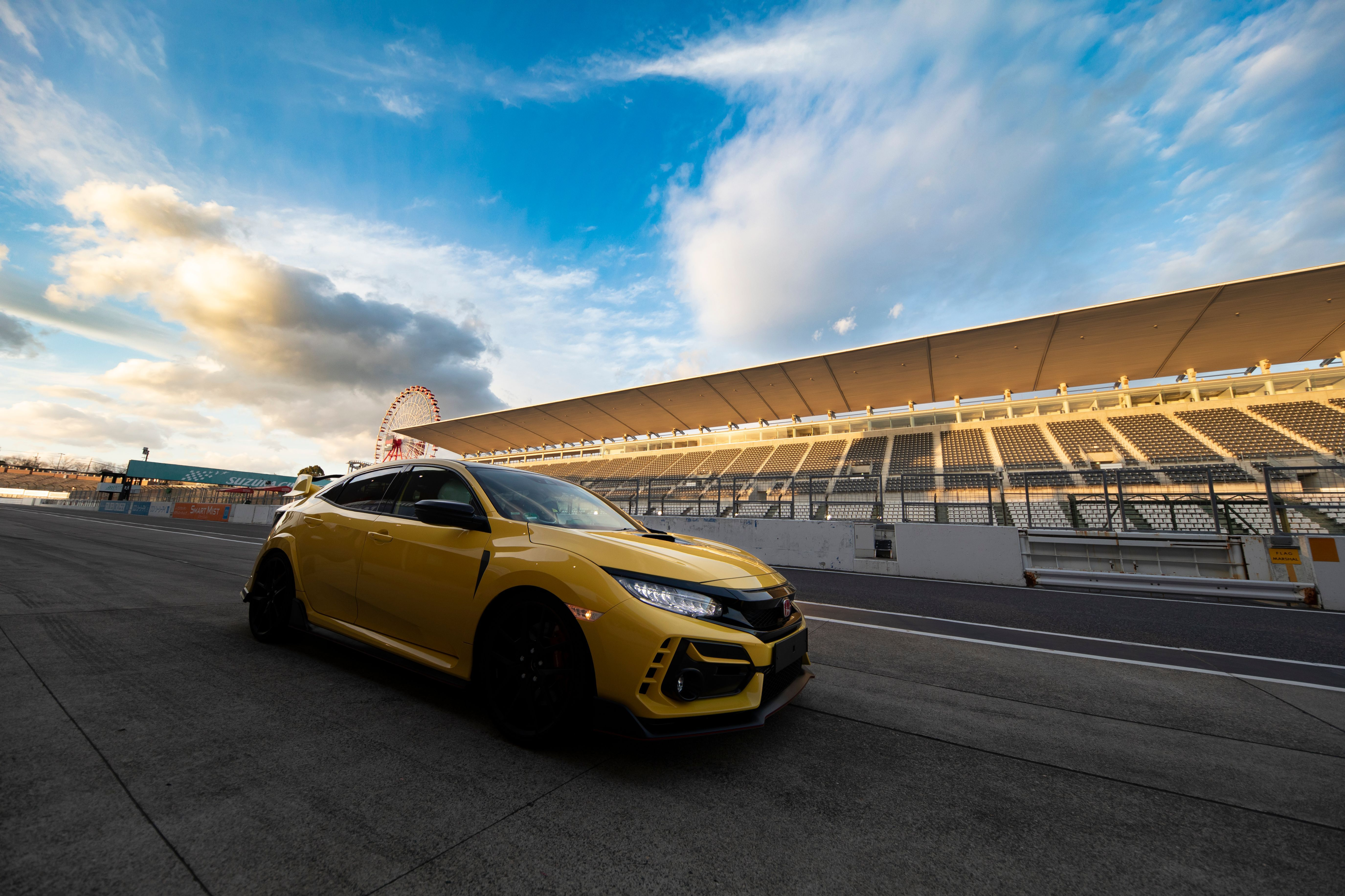 Honda Civic Type R limited edition driving on a race track