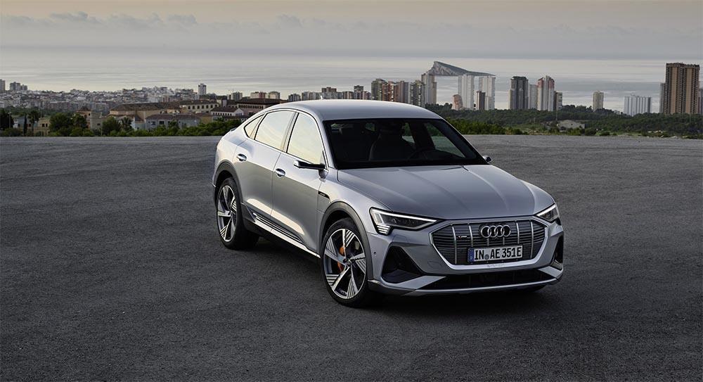 Parked silver Audi E-tron