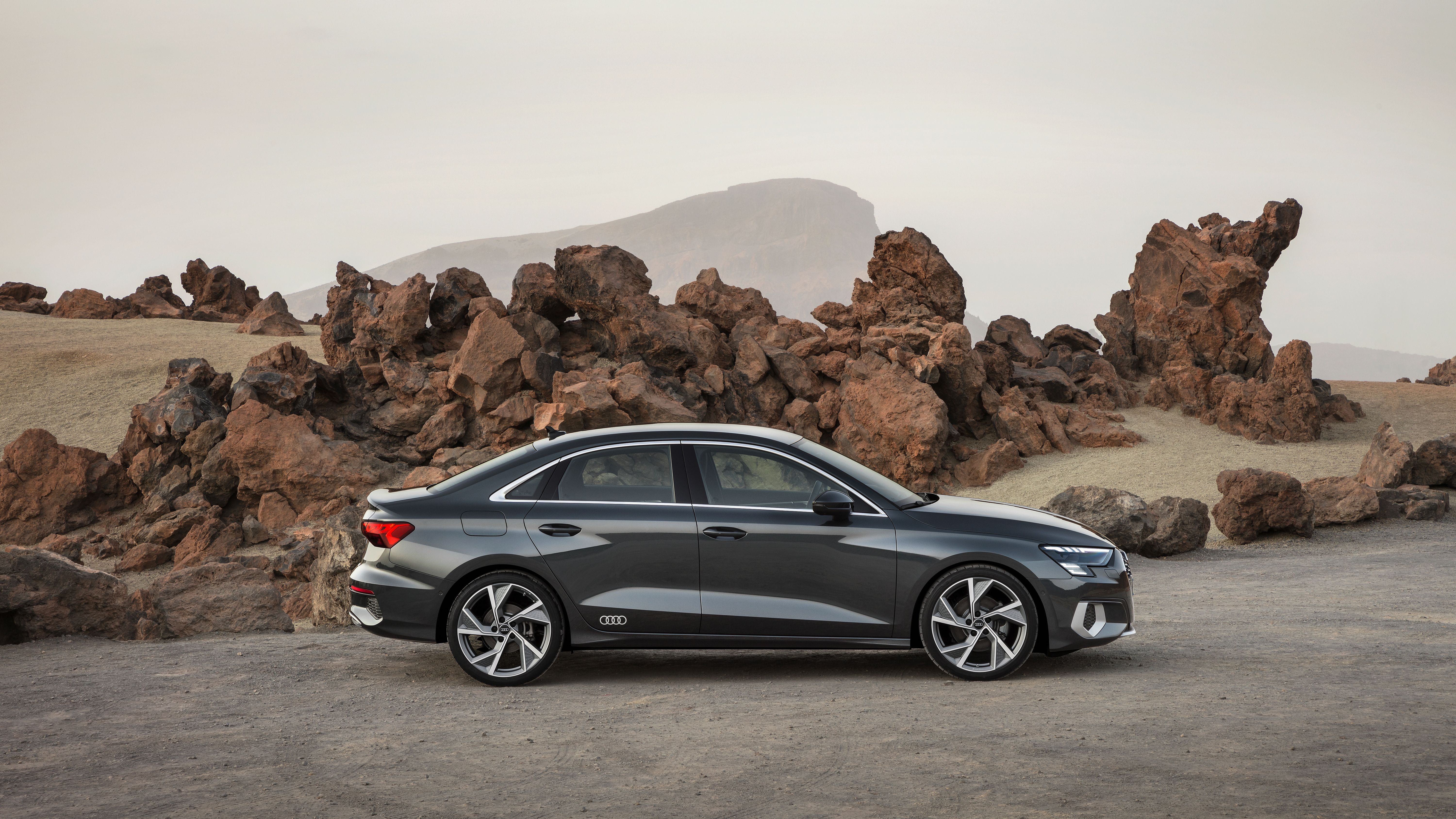 Side profile of the all new Audi A3 Saloon car