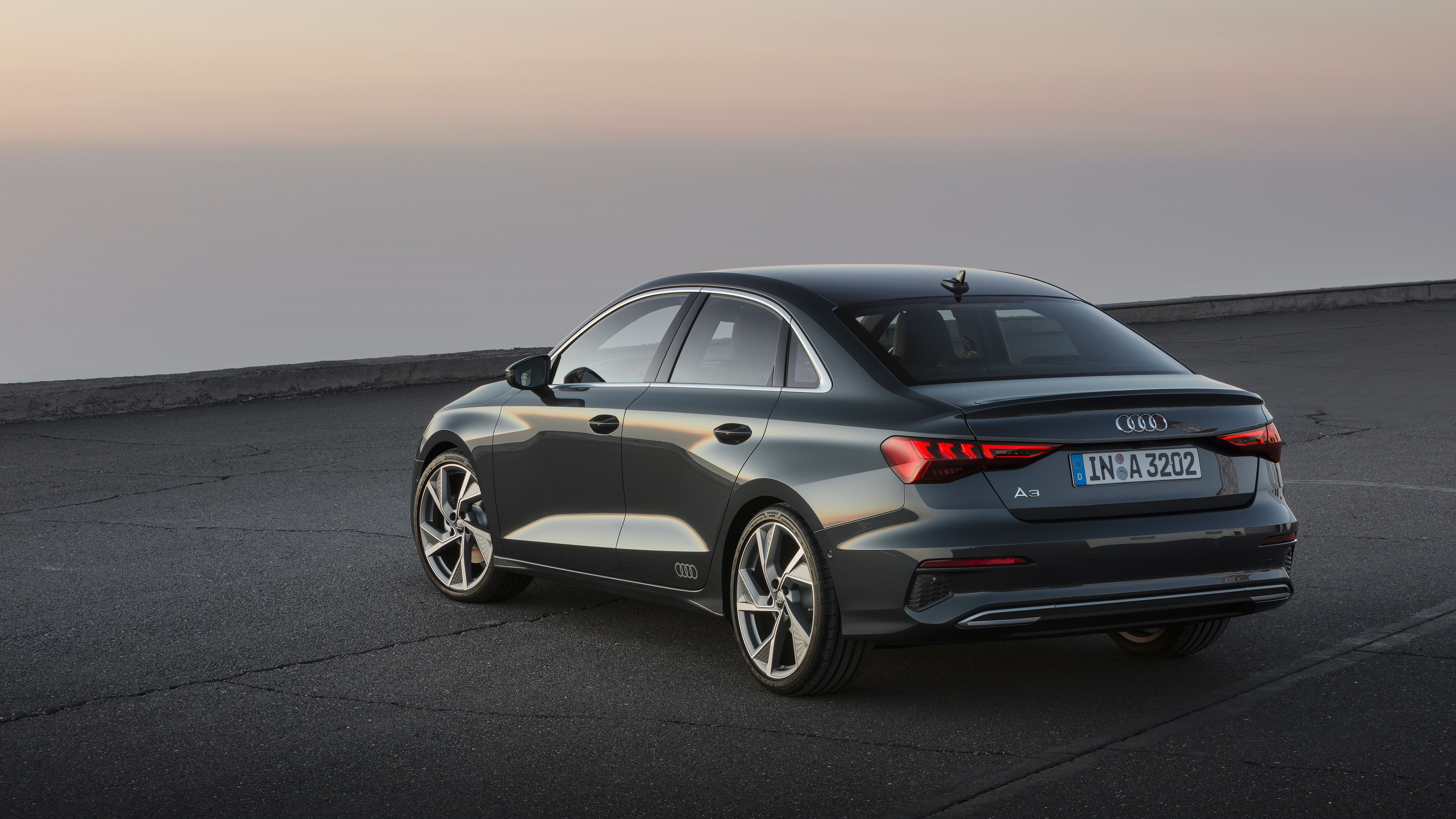 All new Audi A3 Saloon car from rear