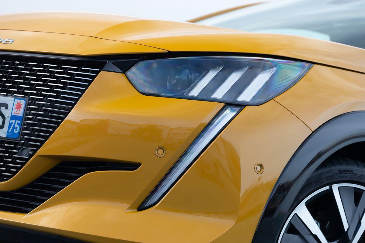 Close up of a Peugeot 208 headlights
