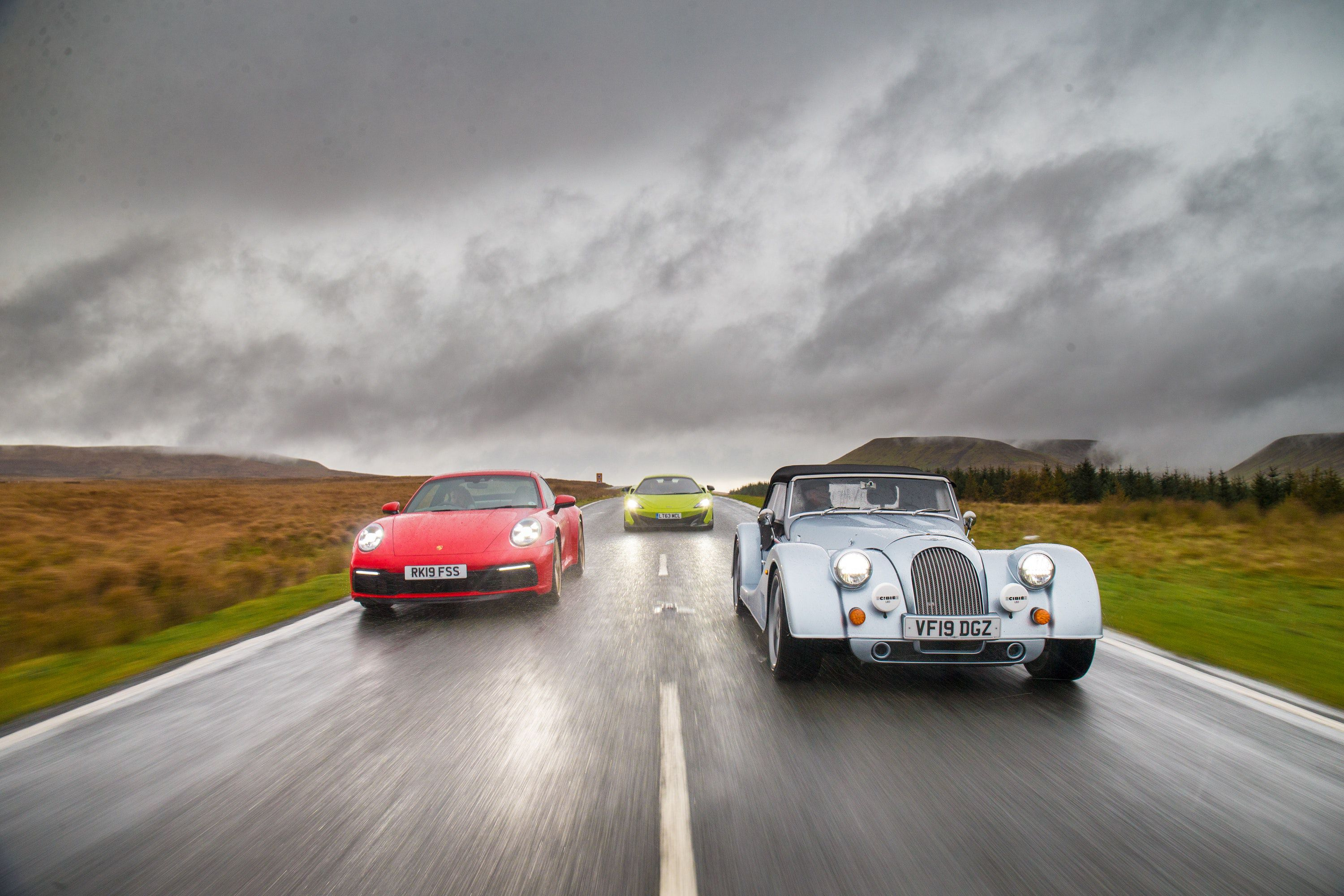 Morgan driving with other cars
