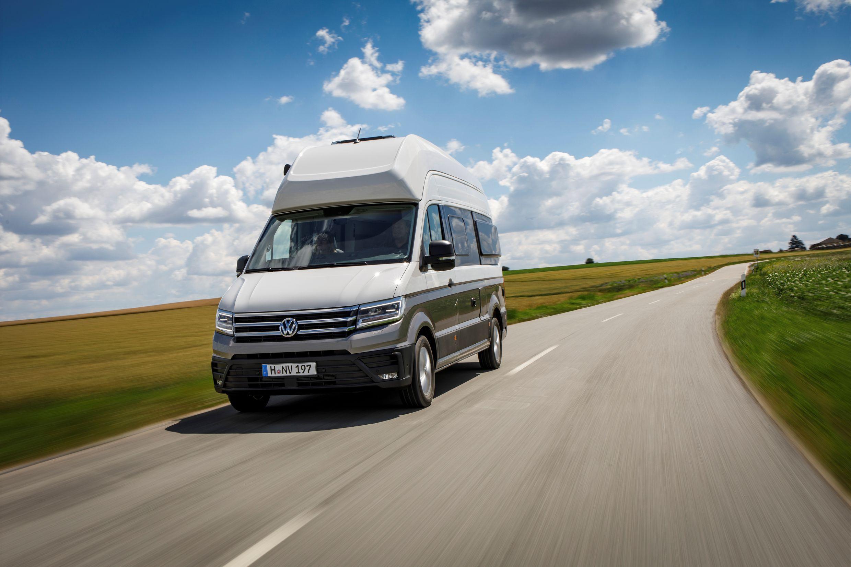 Silver VW Grand California campervan