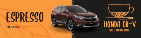 Honda CR-V compared to an espresso