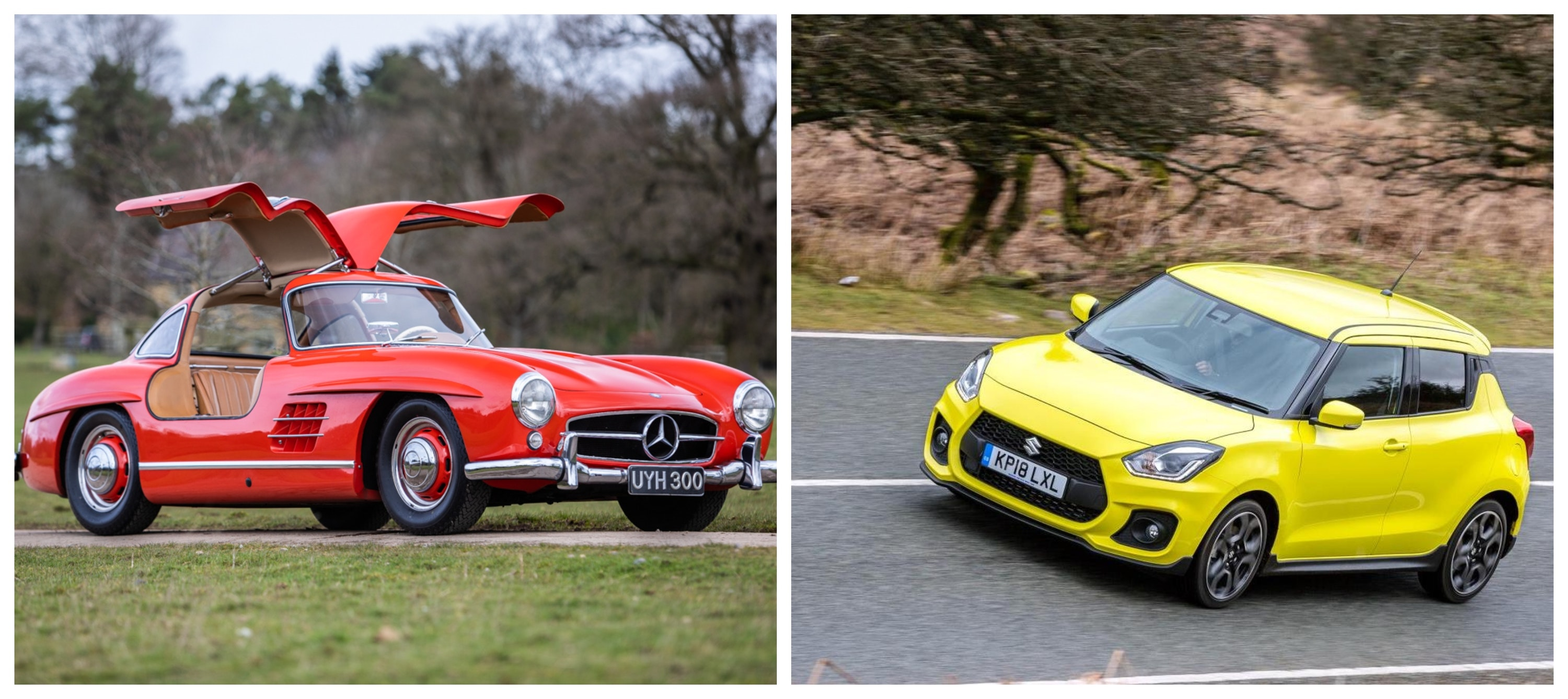 Mercedes-Benz 300SL 'Gullwing' v Suzuki Swift Sport