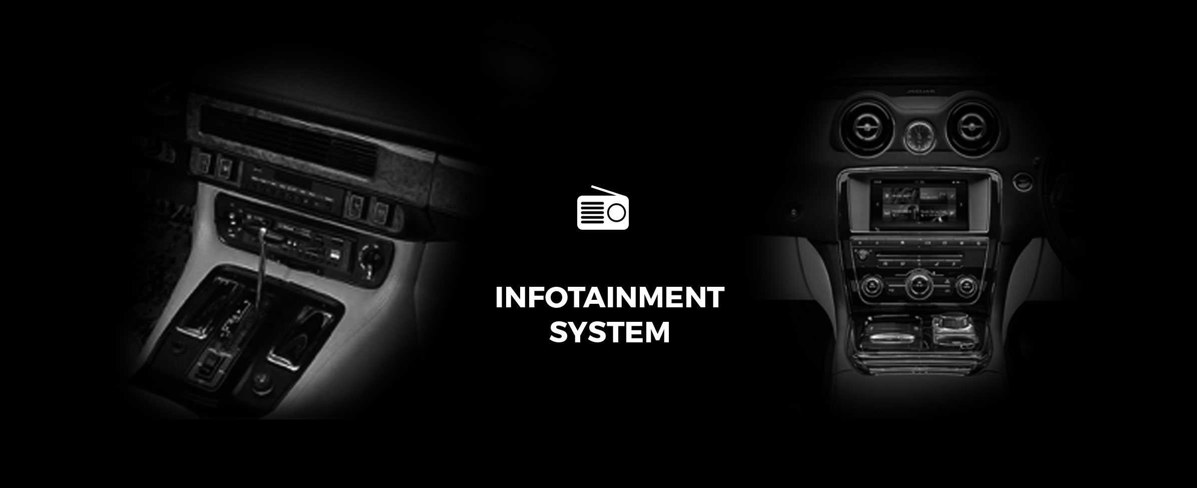 Infotainment system of 1968 and 2017 Jaguar XJ