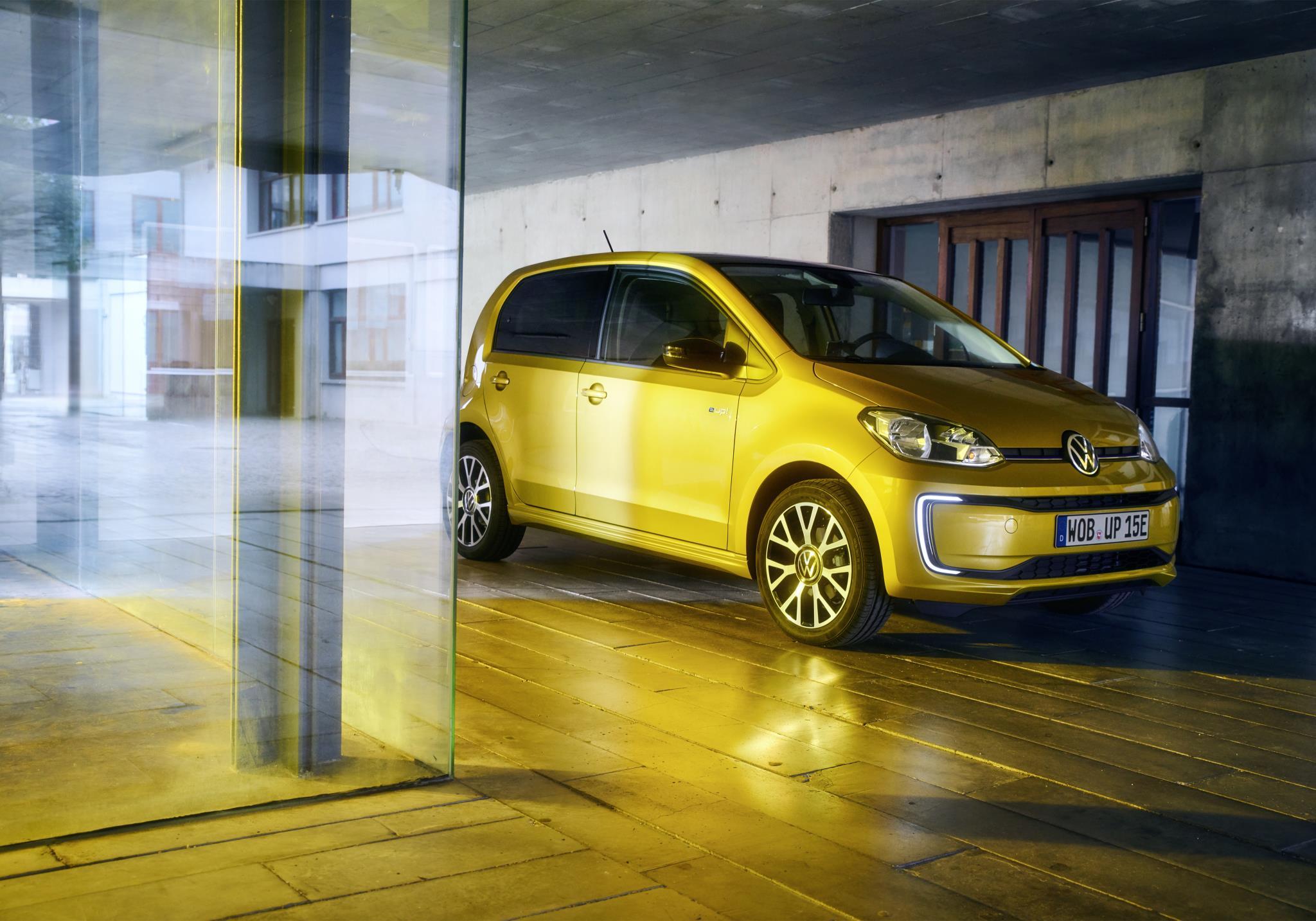 Bright yellow metalli Volkswagen e-up!