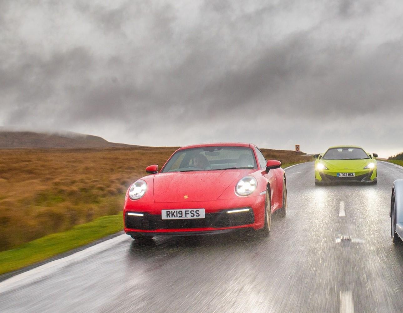 Red Porsche driving