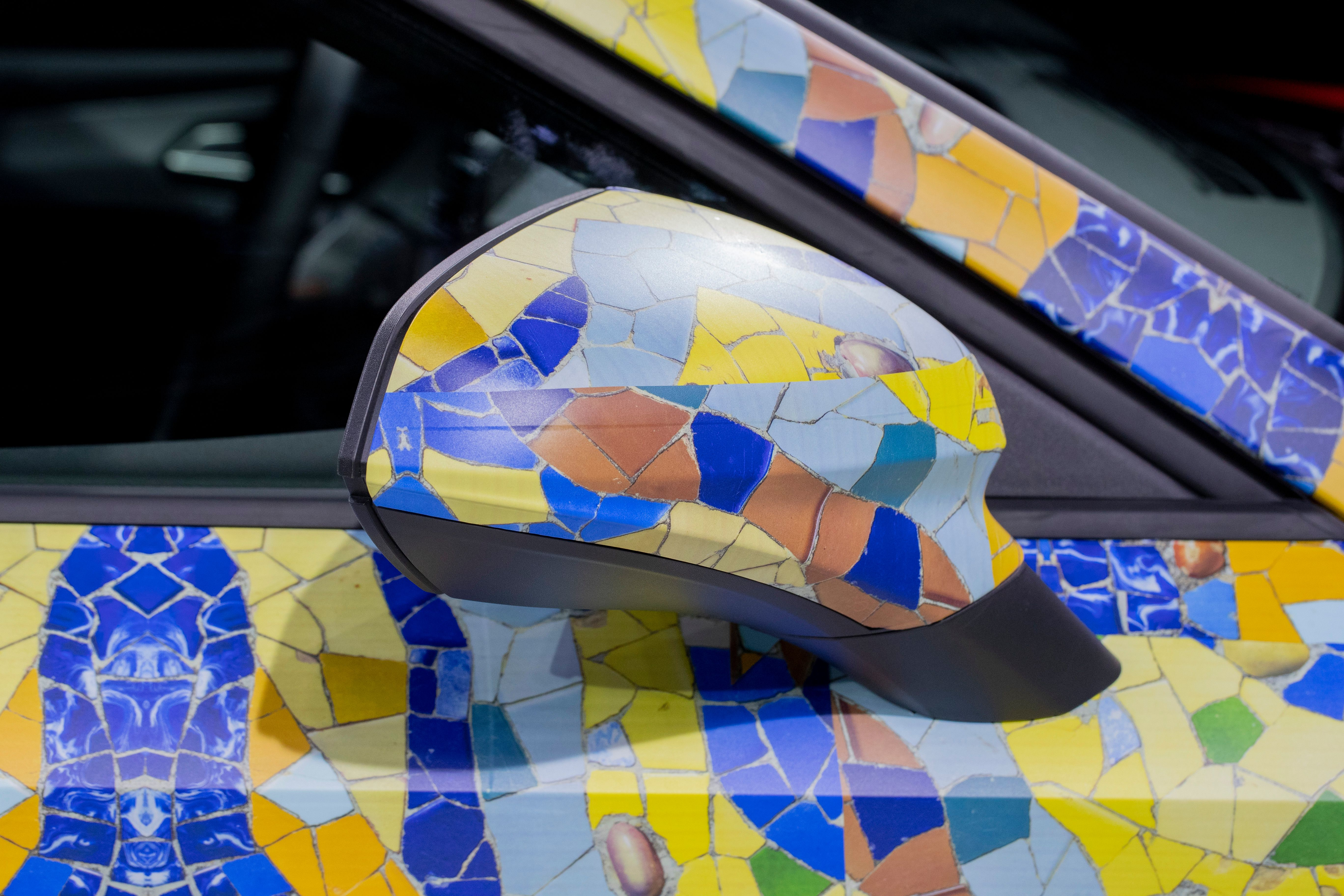 Close up of camouflage wing mirror