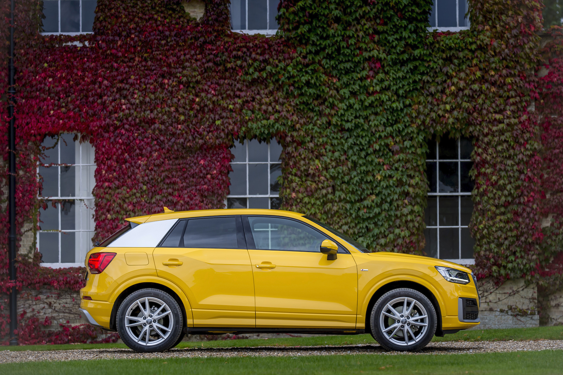 Yellow Audi Q2 S line SUV trim levels