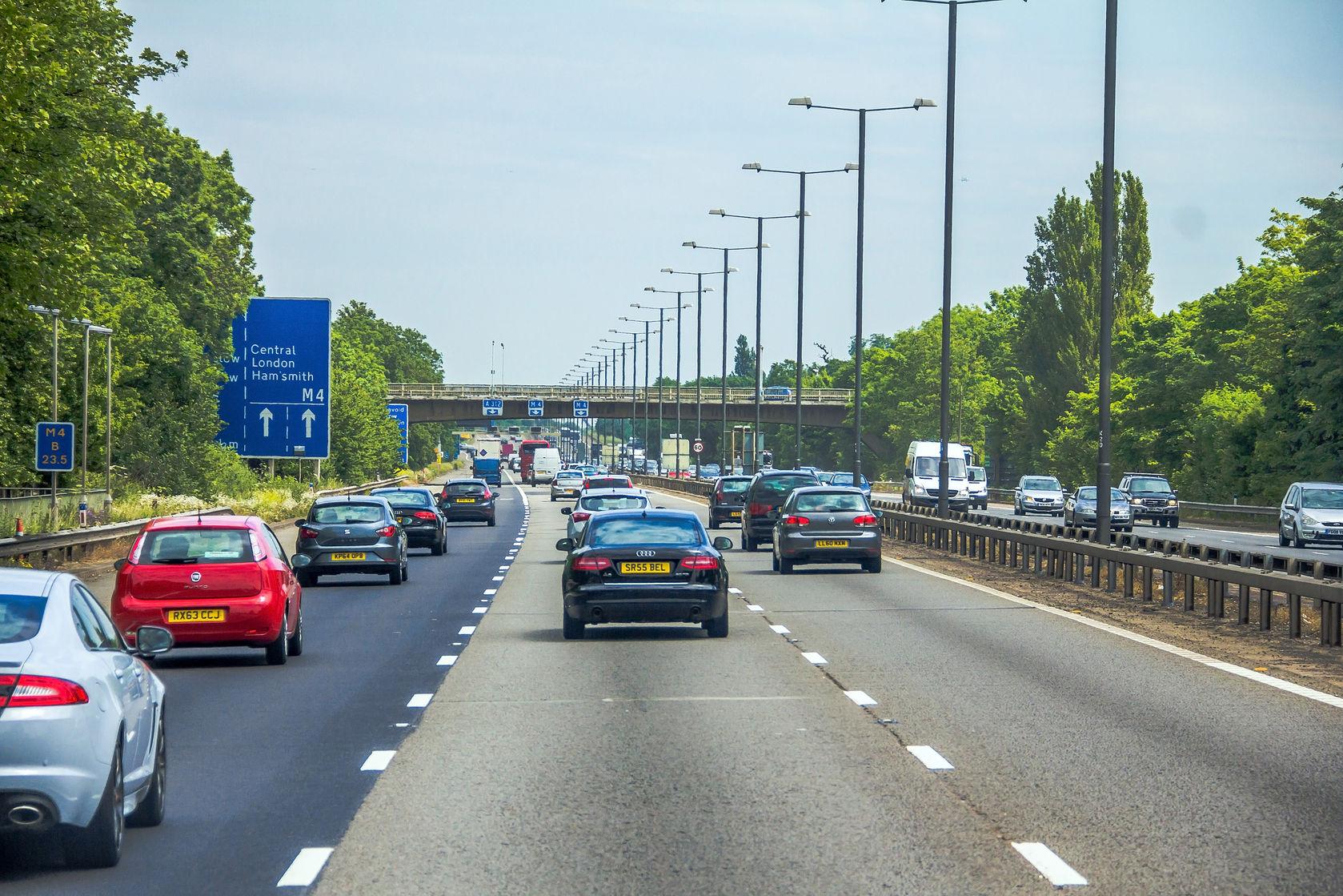 Black Audi driving on the motorway
