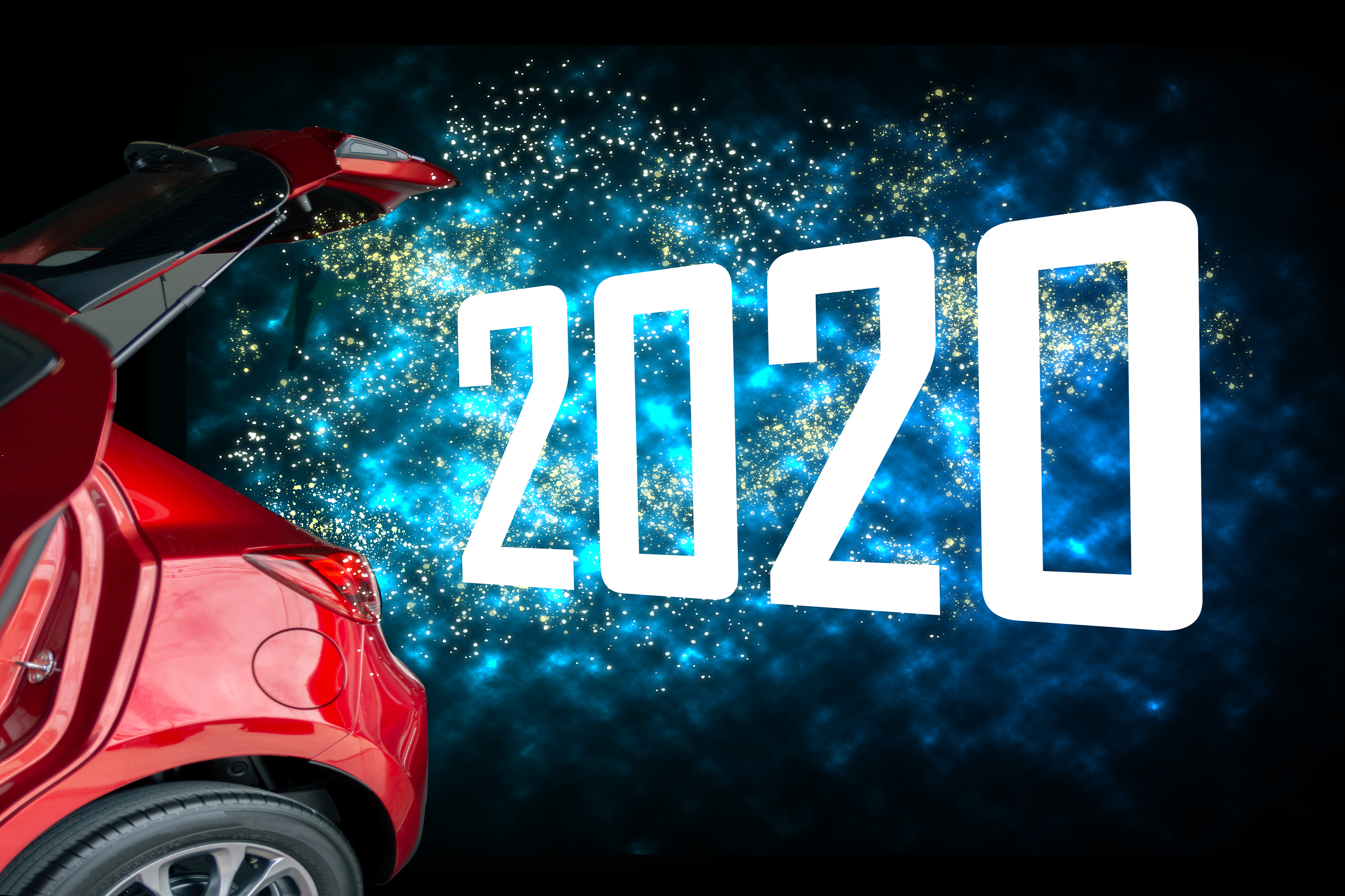 Red car boot open with the word '2020' exploding out of it